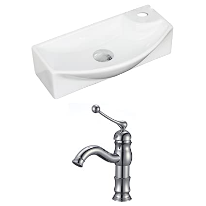 "American Imaginations AI-15350 Rectangle Vessel Set with Single Hole CUPC Faucet, 18"" x 9"", White"