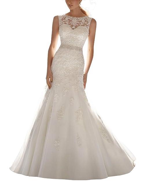 DAPENE Latest Sleeveless Lace Beading Wedding Dress Wedding Gown