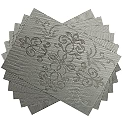 SiCoHome Placemats Gothic Style PVC Dining Room Placemats for Table Heat Insulation Stain-resistant Woven Vinyl Kitchen Placemat Vinyl Placemats,set of 6(Gothic,Gray)