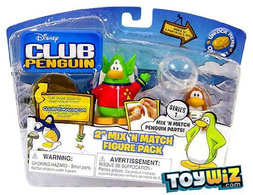 Disney's Club Penguin Series 1 Mix 'N Match 2 Inch Mini Figure 2-Pack Space Alien and Spaceman by Jakks Pacific - 1