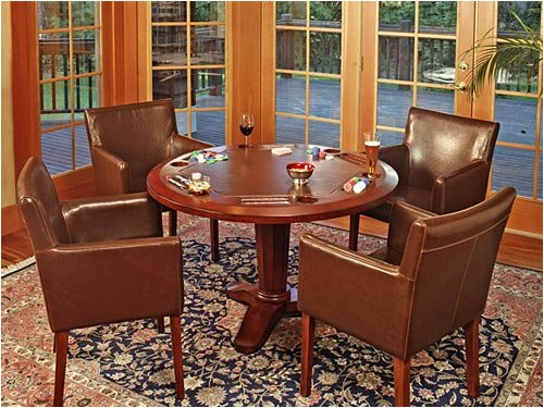 Poker Game Table, Dining Top and Club Gaming Chairs Set