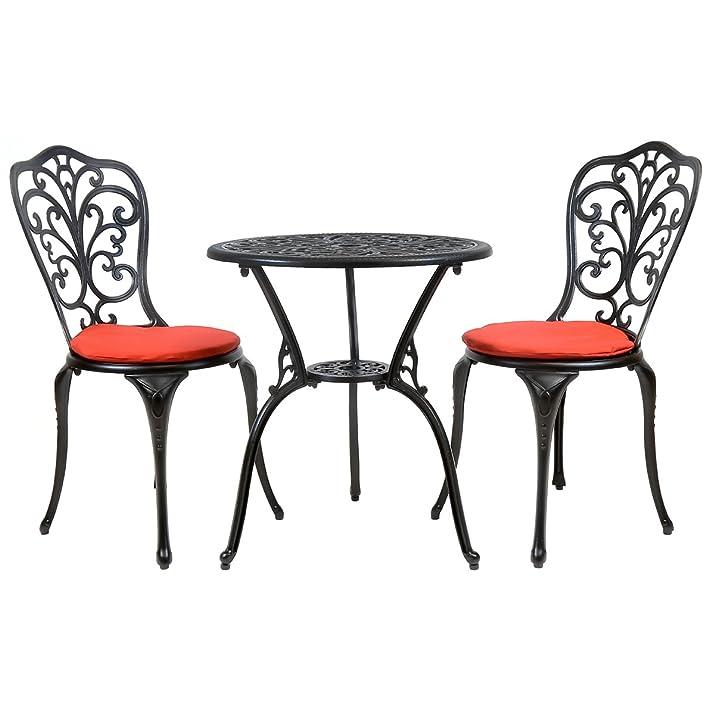 Bentley - Set tavolo sedie da giardino in alluminio fuso - nero con cuscini rossi