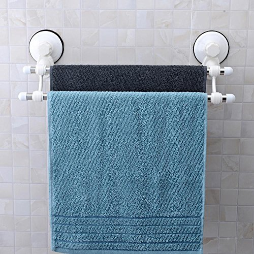 SSBY Super strong hook suction cup towel rack, stainless steel bathroom shelves, 64.5cm nail drill-free towel bar