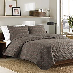 Eddie Bauer 216030 Inglewood Cotton Quilt Set, King, Taupe