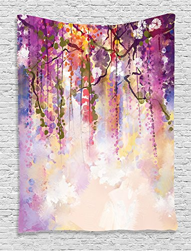 Ambesonne Watercolor Flower Decor Collection, Spring Flowers Wisteria Bokeh Background Painting, Bedroom Living Kids Girls Boys Room Dorm Accessories Wall Hanging Tapestry, Navy Purple Peach White (Wall Painting Accessories compare prices)