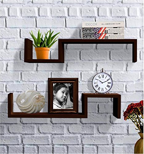 Shelving Solution S Style Wall Mount Shelf, Set of 2, Espresso