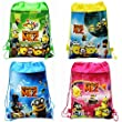 """Lot of 4 Despicable Me 2 Minions Drawstring Backpack Bag - Blue, Green, Yellow, Pink 11""""X 14"""""""