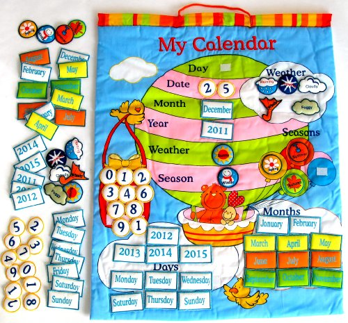 Tell Me About Today Preschool Educational Interactive Colorful Learning Balloon Teaching Fabric Wall Chart Hanging - Weather Calendar Days Of The Week & More