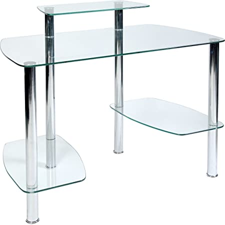 Tipton Modern Clear Glass Workstation With Stylish Chrome Frame by Carran Office Furniture