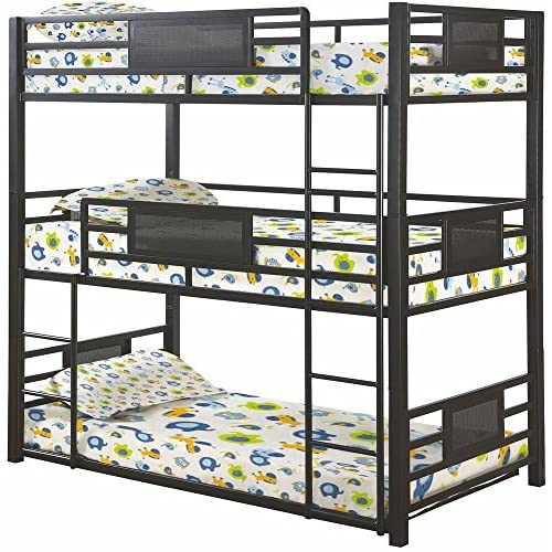 Coaster Home Furnishings Metal Twin Triple Bunk in Dark Bronze