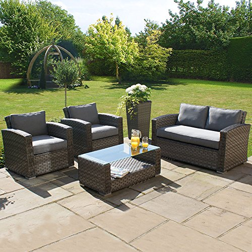 All Weather 4 Piece Outdoor Rattan Garden Furniture 2 Seat Sofa Set - Grey