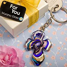 buy 30 Murano Collection Cross Key Chain Favors
