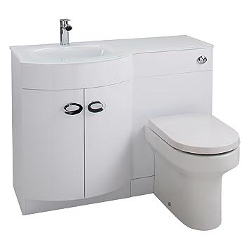 Cassellie Pebble D forma moderna WC e per lavello a sinistra, White, 1100mm x 450mm