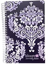 2014 bloom Calendar Year Daily Day Planner Fashion Organizer Agenda January 2014 Through December 2014 Purple Damask