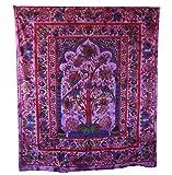 Pink Peacock Tree Of Life Bedspread
