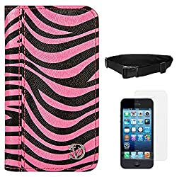 VanGoddy Zebra Print Mary Portfolio Self Stand Case Cover For Apple iPhone 5S / 5G (Pink) + Waist Pouch + Matte Screen