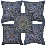 Rajasthani Ethnic Embroidery Design Cotton Pillow Cover Set Of 5 Pcs 16x16 Inches