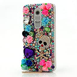 LG K10 Bling Case - Fairy Art Luxury 3D Sparkle Series Crown Skull Pendant Rose Flowers Crystal Design Back Cover with Soft Wallet Purse Red Cloth Pouch - Colorful
