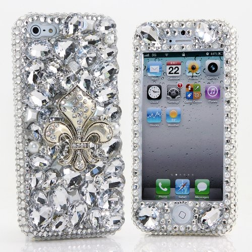 Great Sale BlingAngels® 3D Luxury Bling iphone 5 5s Case Cover Faceplate Swarovski Crystals Diamond Sparkle bedazzled jeweled Design Front & Back Snap-on Hard Case + FREE Premium Quality Stylus and Water-Resistant Bag (100% Handcrafted by BlingAngels) (Silver Fluer De Les Design)