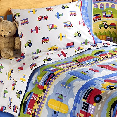 Olive kids trains planes and trucks cotton printed sheet set toddler for Toddler train bedroom
