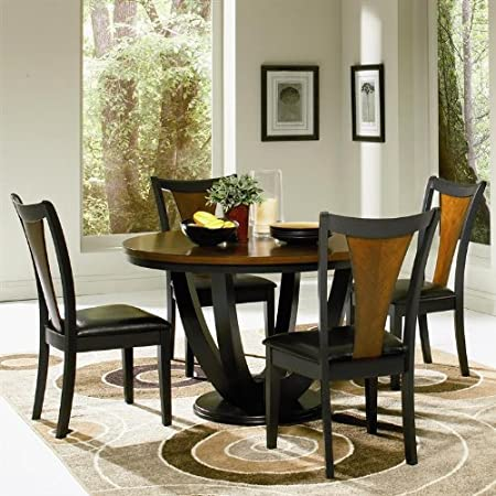 5pc Casual Dining Table and Chairs Set in Black and Cherry Finish