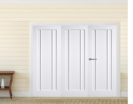 "Green Tree Doors White Primed Langdale Panel Internal Door Bifold System (610mm (24"") - 3 Doors)"