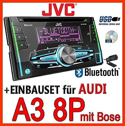 AUDI a3 8P pour casque bOSE-jVC-kW-r910BT 2-dIN avec uSB