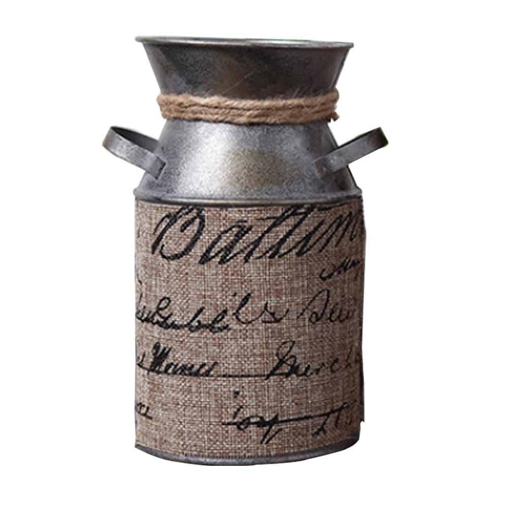 Watering Honey 7.5 inch Retro Pastoral Style Primitive Jug Vase Milk Can with Tied Decoration