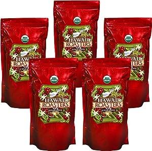 Hawaii Roasters Organic 100% Kona Coffee, Whole Bean, Medium Roast, 5 Lb