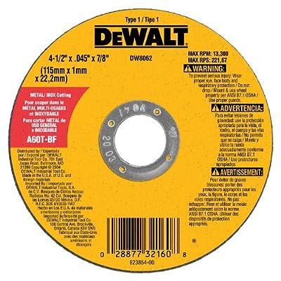 DeWalt DW8062 4-1/2-Inch Diameter by .045-Inch Thick Metal Cutting Abrasive Wheel with 7/8-Inch Arbor
