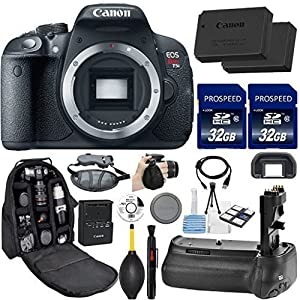 Canon EOS Rebel T5i DSLR Camera (Body Only). Kit Includes, 2Pcs 32GB Commander MemoryCard + Battery Grip + Extra Battery + Backpack Case + Grip Strap + Air Blower + Cleaning Kit