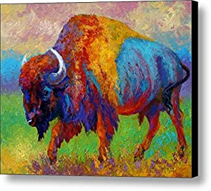 bison pattern size 10x8 inch oil painting