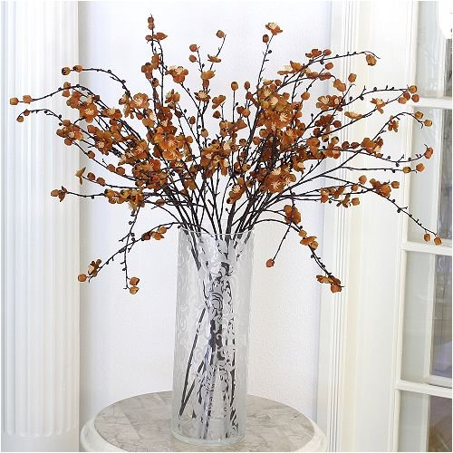 Orange Velvet Plum Blossom Stems
