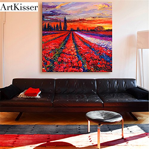 ArtKisser Modern Hand Painted Painting Red Tulip Wall Art Dutch Tulip Flowers Sunset Landscape Oil Paintings on Canvas Framed Home Decor for Living Room Ready to Hang 12