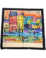Prettystern P070 - 90cm carré en pure soie Foulard Echarpe Art impression - Wassily Kandinsky - Case a Monaco / noir