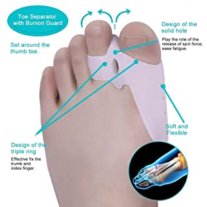 Bunion Corrector & Bunion Relief Protector Sleeves Kit - Treat Pain in Hallux Valgus, Big Toe Joint, Hammer Toe, Toe Separators Spacers Straighteners