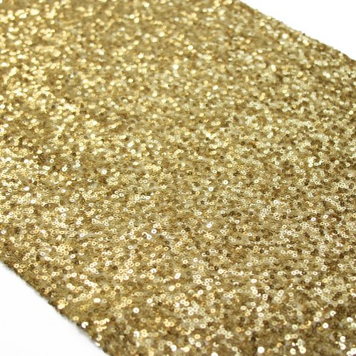Koyal Sequin Table Runner, 13 by 108-Inch, Gold