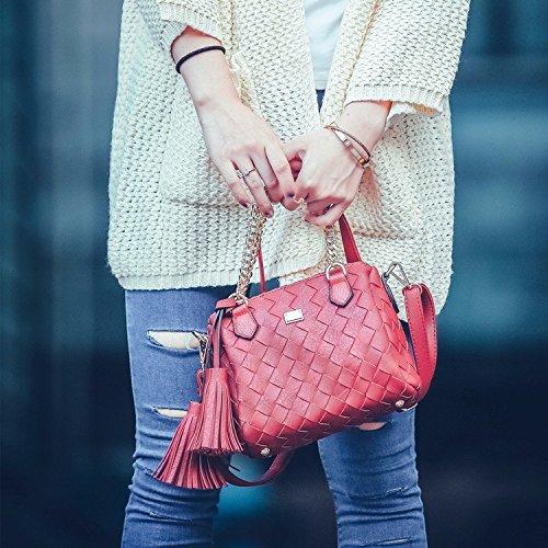 Europei e Americani del fashion ladies orlata di maglia spalla baodan Crossbody borsa catena ,rosso