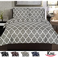 3 Piece Duvet Cover Set (King, Grey) - 1 Duvet Cover + 2 Pillow Shams - Hotel Quality Brushed Velvety Microfiber - Luxurious, Comfortable, Breathable, Soft & Extremely Durable - By Utopia Bedding
