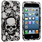 myLife White + Black Scary Skull Series (2 Piece Snap On) Hardshell Plates Case for the iPhone 5/5S (5G) 5th Generation Touch Phone (Clip Fitted Front and Back Solid Cover Case + Rubberized Tough Armor Skin)