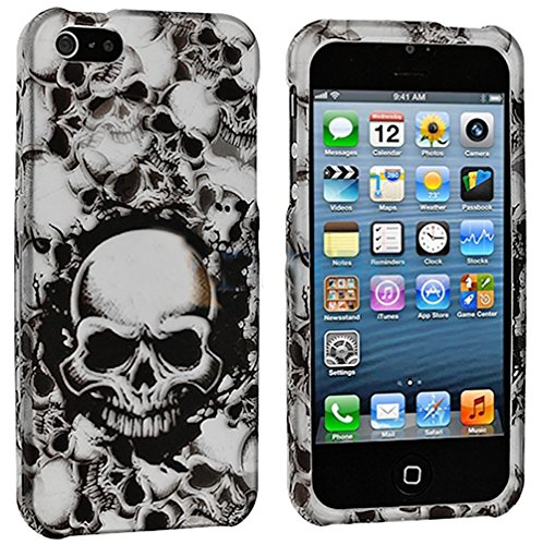 Mylife (Tm) White + Black Scary Skull Series (2 Piece Snap On) Hardshell Plates Case For The Iphone 5/5S (5G) 5Th Generation Touch Phone (Clip Fitted Front And Back Solid Cover Case + Rubberized Tough Armor Skin + Lifetime Warranty + Sealed Inside Mylife