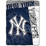 "MLB Baseball New York Yankees Blanket Twin Size Royal Plush Raschel Throw 60"" x 80"""