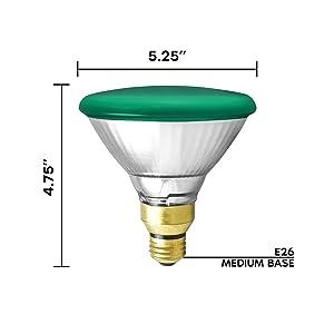 GE 85 Watt Halogen PAR38 Outdoor Flood Light Bulbs, Green Light Bulb, Glass, 120V, Wet Rated, E26 Medium Base (2 Pack) (Color: Green)