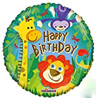 Kaleidoscope Happy Birthday Animal Jungle Print Foil Mylar Balloon , 18″, Pack of 5