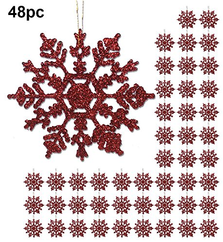 Red Snowflakes - 48 Pack of 4