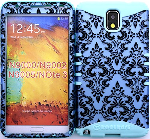 Wireless Fones Tm Hybrid Cover Case Silicone For Samsung Galaxy Note Iii 3 N9000 Victorian Damask Flower Plastic Snap On With Baby Teal Silicone Gel front-582934