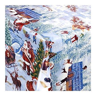 """Wachstuch Tischdecke Wachstischdecke Gartentischdecke, Abwaschbar Meterware, """"Weihnachtsdorf"""", Winterliche Landschaft mit Weihnachtsmotiven (228-00) von MODERNO auf Gartenmöbel von Du und Dein Garten"""