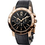Bvlgari Men's Bulgari 41mm Black Alligator Leather Band Rose Gold Case Automatic Watch 102044 BBP41BGLDCH