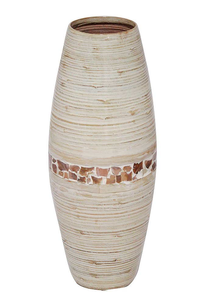 Decorative Handcrafted Rounded Shape Natural Bamboo Vase with Large Opening, Mother of Pearl Band with Distressed White Finish