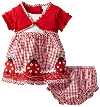 Youngland Baby-girls Infant Seersucker Ladybug Dress, Red, 24 Months